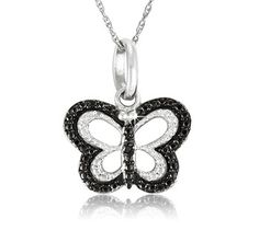 $14.99 - Black Diamond Accent Sterling Silver Butterfly Pendant