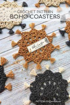 Free Printable Boho Coaster Tag and Wrap – Savlabot Crochet Kitchen, Crochet Home, Crochet Gifts, Diy Crochet, Thread Crochet, Dishcloth Crochet, Crochet Afghans, Crochet Blankets, Yarn Projects