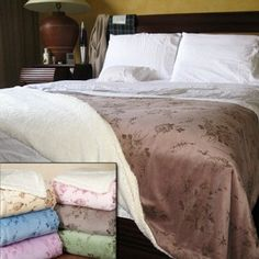 This elegant blanket is super soft and supple to get you through the coldest nights. One side features an elegant and refreshing floral embossed design that breathes, while the other side offers a micro sherpa material that instantly warms the body.