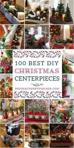 100 Best DIY Christmas Centerpieces from Stephy @ Prudent Penny P. Give your table a festive makeover with these beautiful and creative DIY Christmas centerpieces. From rustic and farmhouse themed centerpieces to traditional and glam centerpieces, there a Dollar Tree Christmas, Noel Christmas, Rustic Christmas, Simple Christmas, Christmas Ornaments, Christmas Ideas, Christmas Tablescapes, Table Centerpieces For Christmas, Christmas Island