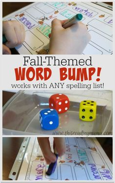 Fall-Themed Word Bump {FREE} ~ an interactive, multi-leveled spelling game that works with ANY spelling list | This Reading Mama