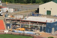 The left field bullpen and party deck area at PNC Field undergoes renovations.