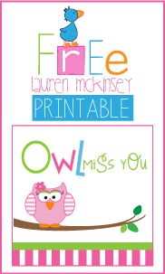 FREE printable Owl miss you candy bar wrapper.