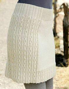 вязаная спицами женская юбка со жгутами. Фото №6