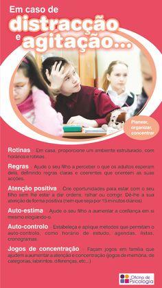 Dicas para ajudar os pais a lidarem com os comportamentos de falta de atenção e agitação dos seus filhotes.