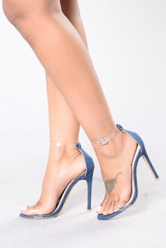 - Available in Rose Gold, Black, and Denim - Single Sole Heel - PVC Straps - Adjustable Buckle - Patent Leather - 4 1/2 Inch Heel