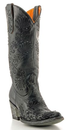 Dressy black cowgirl boots.
