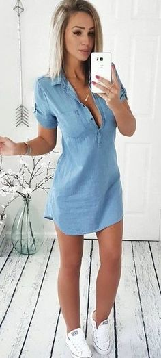 #spring #outfits  Chambray Dress & White Sneakers