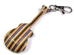 Recycled Skateboard, Guitar Keychain, Guitar Keyring, Guitar Jewelry, Mini Guitar, Skateboard Art, Handmade Recycled, Musical Music Gift