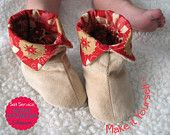 Sewing Projects For Baby Name: 'Sewing : Cuffed Baby Booties - 6 sizes - Sewing For Kids, Baby Sewing, Sew Baby, Pdf Sewing Patterns, Baby Patterns, Couture Bb, Baby Shoes Tutorial, Soft Baby Shoes, Easy Baby Blanket