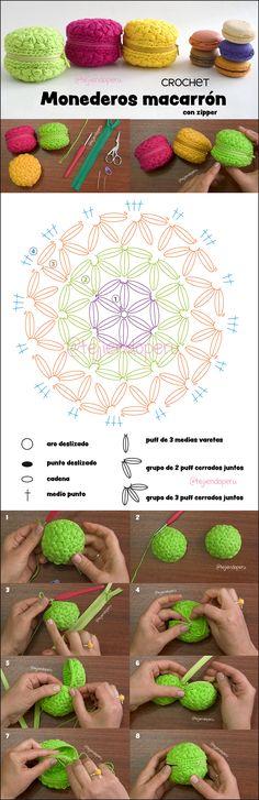 Monederos macarrón (macaroon) con zipper o cremallera tejidos a crochet paso a paso :)