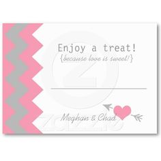 Gray Pink Chevron Wedding Dessert Or Candy Table Business Card