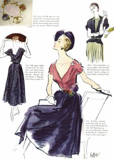 Vogue, February 1950  Illustration by Rene Bouet-Willaumez  scanned by me