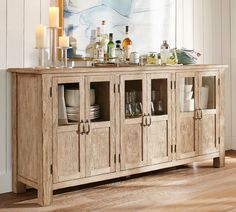 """Toscana Buffet DIMENSIONS Overall: 75"""" wide x 19"""" deep x 36"""" high Top: 75"""" wide x 19"""" deep x 1"""" thick Door (6): 10.25"""" wide x 28"""" high x .75"""" thick Shelves: 1 adjustable Cabinet interior without adjustable shelves: 23.5"""" wide x 17.25"""" deep x 26.5"""" high Weight: 185 pounds"""
