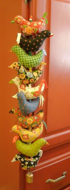 Mary Englebreit fabric birds by Kathy and Ron Dickey at etsy