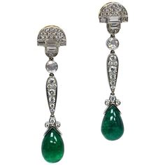 GIA Certified 16.25 Carat Zambian Pear Cabochon Emerald Diamond Drop Earrings   From a unique collection of vintage drop earrings at https://www.1stdibs.com/jewelry/earrings/drop-earrings/