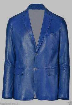 Leather Hubb Mens Soft Lambskin Leather Blazer in Electric Blue