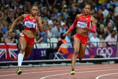 2 of my favorites!!!! Allyson Felix and Sanya Richards-Ross, 2012 Olympic 200 meter dash