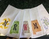 Alabama kitchen towels with initials, you choose fabric and thread color