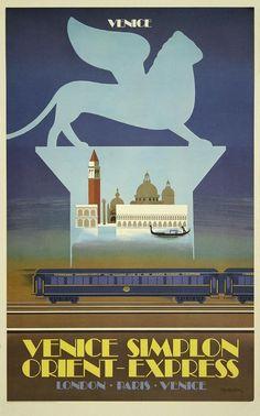 printables, classic posters, free download, graphic design, retro prints, travel, travel posters, vintage, vintage posters, London, Paris, Venice - Venice Simplon Orient Express - Vintage Train Travel Poster