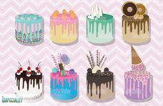 Drip Cake Dessert Clip Art Tasty Food Clip Art Cakes and White Chocolate Ganache, Melting Chocolate, Cake Clipart, Food Clips, Novelty Birthday Cakes, Tasty, Yummy Food, Vintage Scrapbook, Cake Videos
