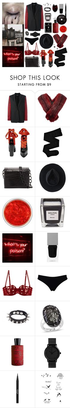"""""""rainy days: she doesn't want to wear a skirt"""" by nothingisnormal ❤ liked on Polyvore featuring Ann Demeulemeester, Lanvin, Prada, Fogal, Nancy Gonzalez, Ryan Roche, MAC Cosmetics, Welton London, Givenchy and La Perla"""