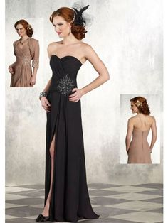 A-Line Strapless Sweetheart Chiffon Floor-Length Beadings Mother Of The Bride Dresses