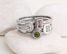 Hey, I found this really awesome Etsy listing at https://www.etsy.com/listing/217338794/mothers-stackable-birthstone-initial