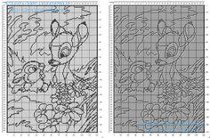 Copertina neonato filet uncinetto gratis con Disney Bambi e Tamburino 170 quadretti