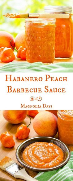 Homemade Habanero Peach Barbecue Sauce: thick, rich, fruity, sweet, and has a kick of heat from fresh peppers. Hot Sauce Recipes, Barbecue Sauce Recipes, Grilling Recipes, Vegetarian Grilling, Bbq Sauces, Healthy Grilling, Vegetarian Food, Veggie Food, Healthy Food