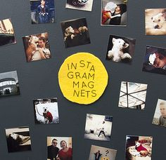Decorate your mini dorm refrigerator with Instagram Magnets - directions on how to resize your Instagram photos, print, attach with two strips of magnetic tape.
