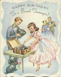 1954 Vintage Birthday Greeting Card... Used!
