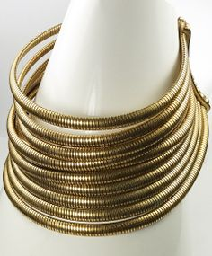 Christian Dior Eleven Stranded Gold Gaspipes Modern Choker Necklace