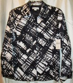 Coldwater Creek Jacket Blazer Size 8  Misses Lined Black White Graphic Plaid  #ColdwaterCreek #Blazer