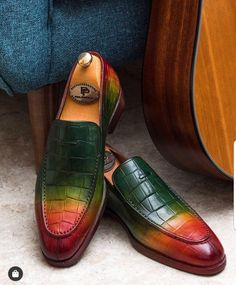Paul Parkman Crocodile Embossed Calfskin Multicolor Loafer (ID Latest Mens Fashion, Mens Fashion Shoes, Fashion 101, Style Fashion, Fashion Women, Fashion Ideas, Fashion Inspiration, Fashion Trends, Gentleman Shoes