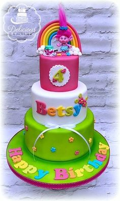 Trolls birthday cake #trollscake #brightbirthdaycake #cake #trolls