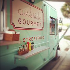 curbside gourmet | food truck #palmbeach | Food columnist Babs Stock hopes to open her own gourmet food truck in the future.  Re: Photo-What a good idea to have condiment shelf on the side of the food truck! popuprepublic.com