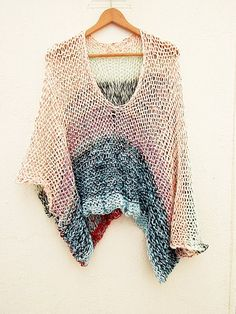 Multicolor stripe knitted sweater& poncho