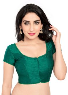 Rama Green Shimmer Ready-made Saree Blouse X-35