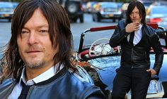Norman Reedus goes hell for leather as he models with Mercedes