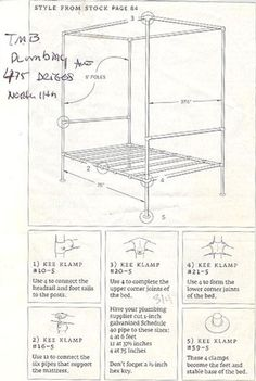 A tutorial for how to make a four poster bed made from pipes.