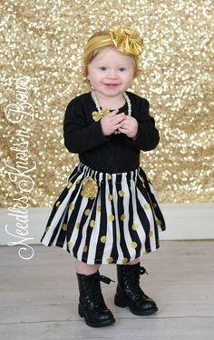 Girls Black and White Stripe Polka Dot Twirl Skirt, Baby, Toddler Skirt