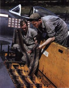 Two ordinance men load calibur cartridge belts into the wing of a Republic Thunderbolt fighter plane at an unspecified base in England, September The plane's pilot is Lieutenant. Get premium, high resolution news photos at Getty Images Ww2 Aircraft, Fighter Aircraft, Military Aircraft, Fighter Jets, Photo Avion, P 47 Thunderbolt, American Fighter, Ww2 Planes, Luftwaffe