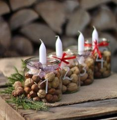 Simple And Popular Christmas Decorations Table Decorations Christmas Candles Diy - Home, Room, Furniture and Garden Design Ideas Christmas Table Centerpieces, Christmas Candles, Diy Christmas Ornaments, Rustic Christmas, Simple Christmas, Christmas Themes, Christmas Wreaths, Christmas Decorations, Christmas Christmas