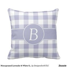 Monogramed Lavender & White Gingham Pillow