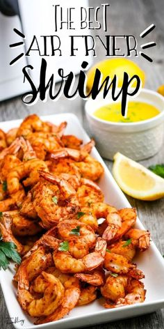 This air fried shrimp makes a fast and healthy dinner! The air fryer makes juicy and crisp shrimp that is perfect for eating by itself or adding to a salad, tacos, pasta or fajitas. Seasoning suggestions include garlic shrimp, Cajun shrimp, lemon pepper shrimp and more. Air Fryer Recipes Shrimp, Air Fryer Oven Recipes, Air Fry Recipes, Air Fryer Dinner Recipes, Shrimp Recipes Easy, Seafood Recipes, Healthy Dinner Recipes, Cooking Recipes, Healthy Dinners