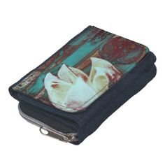 Artistic Water Lilly in Red and Blue / Denim Wallet #fomadesign