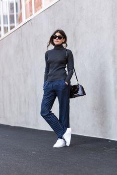 The Fashion Fraction    Clean. Grey turtleneck, striped Tibi pants, Adidas sneakers, Louis Vuitton Alma BB, Céline sunnies.
