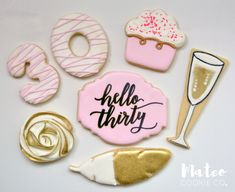 Hello Thirty Birthday Pink and Gold Decorated Cookies www.mateocookieco.com