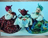 Holiday Greeting Card - Vintage Postcard - Winter holiday greeting card with Russian Dolls - Tea party - CCCP old card